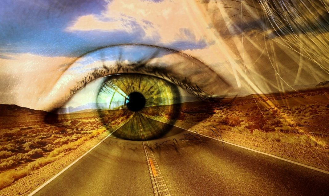 Desert road with an eye